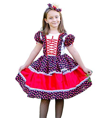 Vestido Festa Junina Caipira Infantil Luxo Moranguinho (M-6 a 8 Anos)