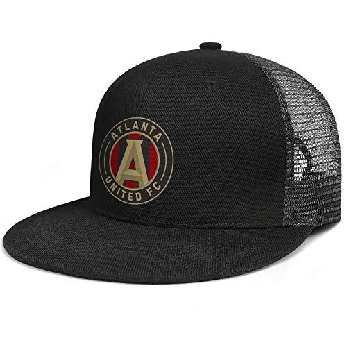 Baseball Hats for Men Women Cool Flat Bill Mesh Adjustable Hip-Hop Cap Snapback Black