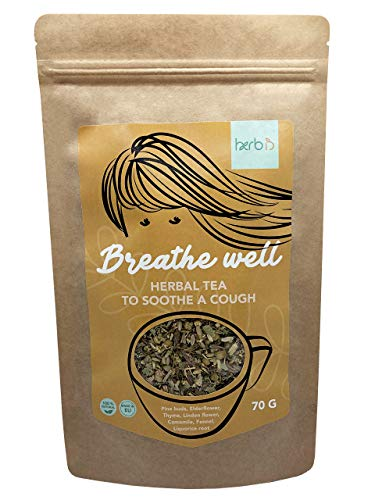 Herbis Breathe Well Tea 70 g | Loose Leaf Tea | 7 Herbs | Great for Coughs, Colds and Flu