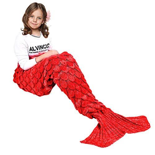 eCrazyBaby Hecho a Mano de Punto Manta de Cola de Sirena Todas Las Estaciones cálido sofá Cama Sala de Estar Manta para niños, Patrón de Fish-Escalas, Rojo, 140 x 70cm