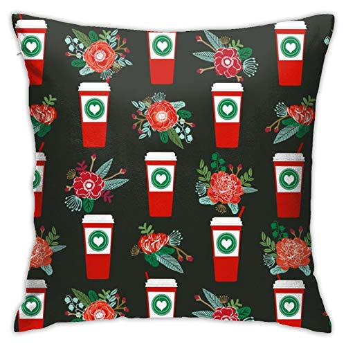 87569dwdsdwd Christmas Pepperlatte Candy Cane Holly Cute Coffee Latte Christmas Peppermints Square Pillow Case Home Sofa Decorative 18' X 18'Inch Ultra Soft Comfortable