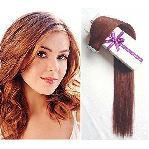 Dark Auburn Hair Extensions Tape in Human Hair, Copper Red #33 Silky...