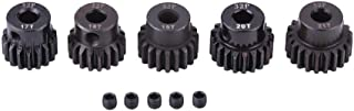 Dilwe RC Motor Pinion Gears, 5pcs 32DP 5mm 17T-21T Steel Motor Gears Pinions Parts Set for 1/8 RC Car Motor