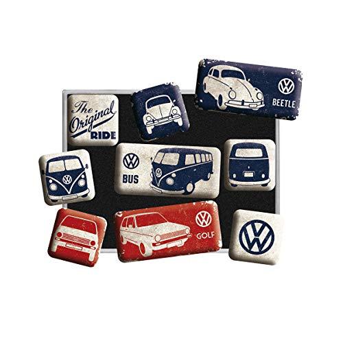 Nostalgic-Art Juego de Imanes Retro Volkswagen Bulli T1 Original – Regalo de Furgoneta VW, Decoración para la Nevera, Diseño Vintage, 7x9.3x2 cm
