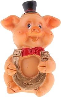 FLAMEER Micro Estatuilla de Cerdo Miniatura Ornamentos Herramienta Césped Motosierras Decorativa - Herradura