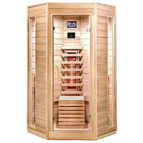 Home Deluxe – Cabina a infrarossi – Nova, faretto a spettro completo – Legno abete Hemlock – Dimensioni: 100 x 100 x 200 cm – Include molti extra e accessori completi