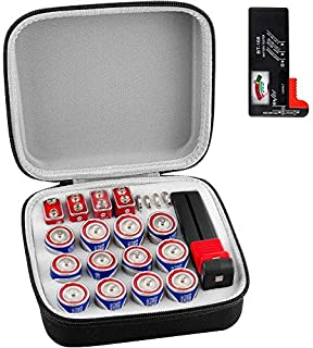 Battery Organizer Storage Box with Battery Tester (BT168), Case Bag Holder fits for 12 C (Not Includes Batteries)