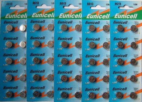 PK Green 50 x Batterie a Bottone 1,5V AG13 / LR44 / LR1154 / A76 / 357