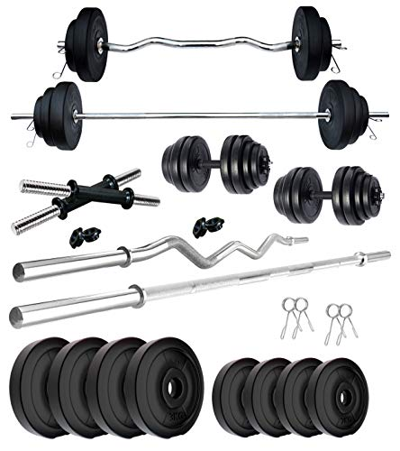 Kore PVC 20 Kg Home Gym Set With One 4 Ft Plain + One 3 Ft Curl Rod And One Pair Dumbbell Rods, Multicolour