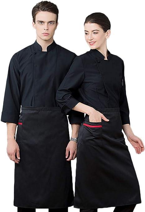 WYCDA Cocina Unisex Uniforme de Manga Larga Blanca Camisa de ...