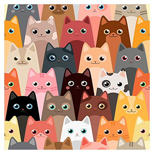 murando Tapete selbstklebend 10m Wandtattoo dekorative Möbelfolie Dekorfolie Fotofolie Panel Wandaufkleber Wandposter Wandsticker - Kinderzimmer Katzen Mieze für Kinder e-B-0028-j-a