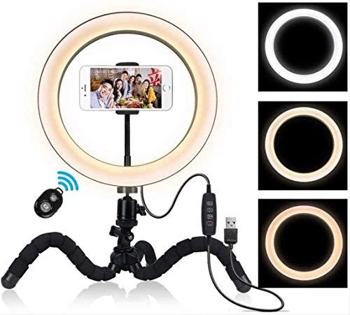 FACAZ Anillo de luz LED Regulable de 26 cm con Soporte y Soporte para teléfono, Kit de iluminación de Video y Foto de cámara, Estudio de fotografía de transmisión en Vivo de luz de Anillo