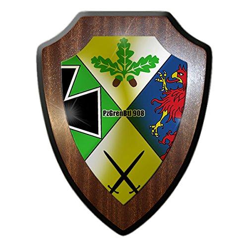 Wappenschild/Wandschild -PzGrenBtl 908 Panzergrenadierbataillon Kompanie Bundeswehr Wappen Abzeichen Reservist Einheit Viereck Vorpommern-Greifswald Andenken Tafel #15568