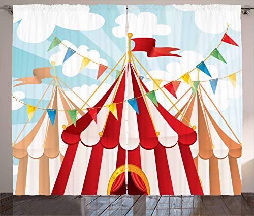 ABAKUHAUS Zirkus Rustikaler Vorhang, Zirkus bewölkt Sonne Himmel, Wohnzimmer Universalband Gardinen mit Schlaufen und Haken, 280 x 260 cm, Blau Weiß Rot