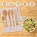 Eco-Friendly Reusable Bamboo Cutlery Set | Ideal for Travel, Eating Out, Camping | Knife, Fork, Spoon, Teaspoon…