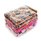 1 Pack 3 Blankets Super Soft Fluffy Premium Fleece Pet Blanket Flannel Throw for Dog Puppy Cat Paw Brown/Pink/White Small New