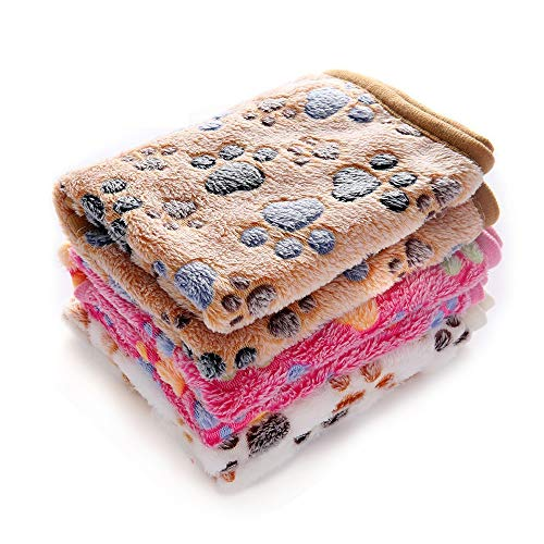 Luciphia 1 Pack 3 Blankets Super Soft Fluffy Premium Fleece Pet Blanket Flannel Throw for Dog Puppy Cat Paw Brown/Pink/White Small