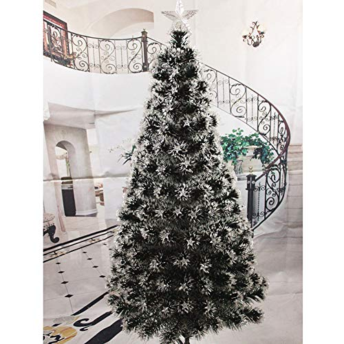 DW&HX Fiber Optic Artificial Christmas Tree, Hinged Color Change Easy to Assemble Metal Stand Christmas Tree Flash Modes Christmas Tree with Led Lights -C 1.8m / 5.9 ft