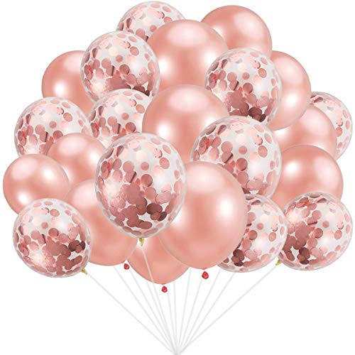 Rose Gold Balloons 30PCS Rose Gold Confetti Balloons 30PCS, Total 60Pcs 12inch Party Latex Balloon for Birthday Wedding Engagement Party Bridal Baby Shower Party Decoration