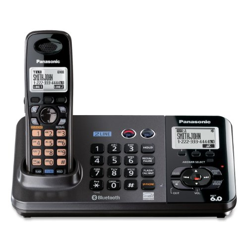 Panasonic KX-TG9381T 2-Line Expandable Cordless Phone and Answering System, Metallic Black, 1 Handset