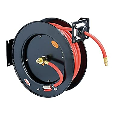 ReelWorks L815153HA Steel Retractable Air Compressor/Water Hose Reel with 3/8  x 50' Hybrid Polymer Hose, Max. 300 psi