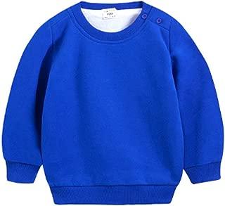 Baby Toddler Kid Boy Girl Winter Solid Casual Fleece Crewneck Sweatershirt Pullover