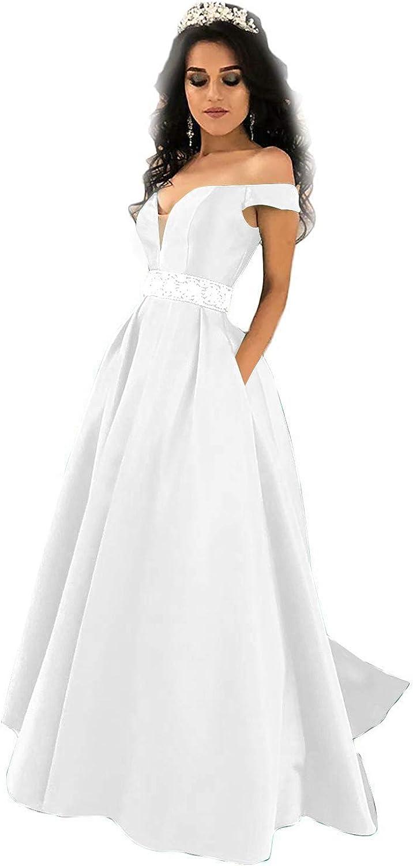 MARSEN Satin Prom Dresses Long OffTheShoulder Beaded ALine Evening Gowns with Pocket