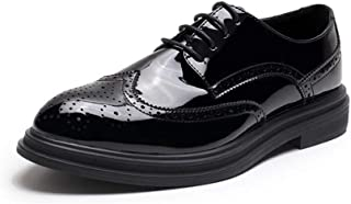 Bin Zhang Brogue Patent Oxfords for Men Formal Dress Shoes Lace up Microfiber Leather Wingtip Carving Pointed Toe Waxed Laces Block Heel Anti-Slip (Color : Black, Size : 7.5 UK)