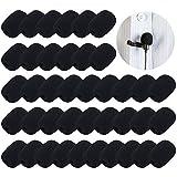 40 unidades Pantallas Antiviento de Micrófono Auriculares de Solapa Cubiertas de Micrófono de Espuma, Mini Tamaño (Negro)
