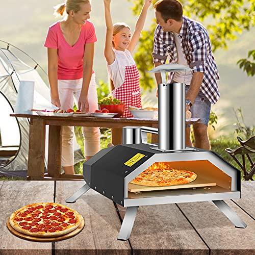 VEVOR Horno de Pizza para Exteriores Tamaño de Pizza de 12' Horno de Pellet para Pizza de Acero Inoxidable 76,4 x 44,3 x 54,5 cm 600 ℃ Horno Leña para Pizza Portátil para Jardín para Bistec, Pollo