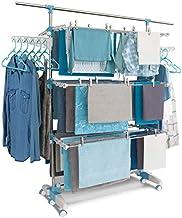 IDMarket - Séchoir à Linge modulable Blanc/Bleu Grande capacité + 30 Accessoires