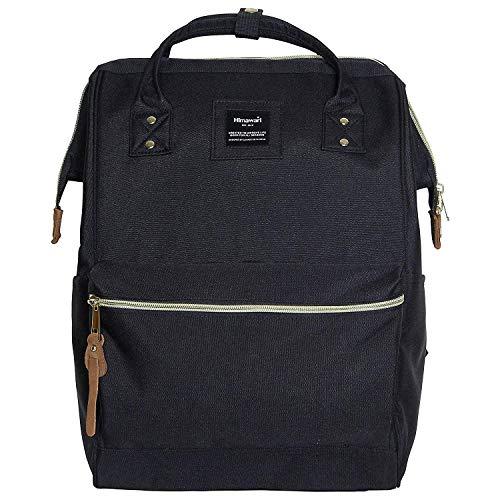 Himawari Polyester Backpack Unisex Vintage School Bag Fits 13-inch laptop Black