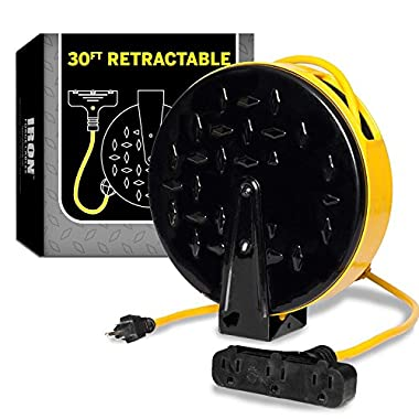30Ft Retractable Extension Cord Reel with 3 Electrical Power Outlets - 16/3 Durable Yellow Cable - Perfect for Hanging from Your Garage Ceiling