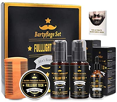 Ultimate Beard Grooming Kit for Men Gift Set with 118ML Beard Shampoo,118ML Beard Conditioner Leave in Softener,Beard Oil,Beard Balm,Beard Comb Perfect Beard Care Gifts for Men/Dad/Him/Husband from FULLLIGHT TECH