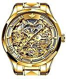 Swiss Brand Skeleton Automatic Mechanical Men Watch Gold Face Self Winding Sapphire Crystal Luxury Dress Tungsten Steel Waterproof