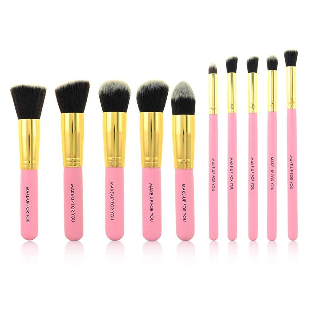 インキュバス付属品容疑者メイクアップブラシ 1つの繊維の化粧品のブラシに付き化粧ブラシセット用具の化粧品の洗面用品のキット繊維の化粧品のブラシ10 (色 : ピンク)