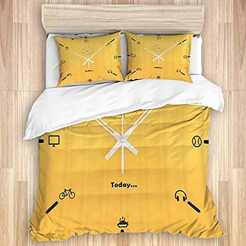 Ruchen Conjunto de Tapa de edredón de algodón Lavado, Reloj de Auricular Blanco Amarillo, Conjunto de Ropa de Cama Suave de Lujo de 3 Piezas
