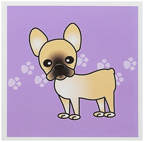 3dRose Cute Black Masked Fawn Cream French Bulldog Purple with Pawprints - Greeting Cards, 6 x 6 inches, set of 12 (gc_25345_2)
