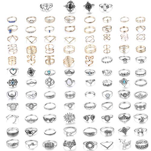 CASSIECA 99-109 Pcs Knuckle Rings for Women Vintage Bohemian Stackable Rings Set Mid Finger Rings