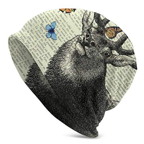 Lsjuee Unisex Soft Slouchy Beanie Strickhüte Hirsch mit Schmetterlingen Vintage Papier Lange Baggy Schädelkappe Winter Sommer Ski Baggy Hut Schwarz