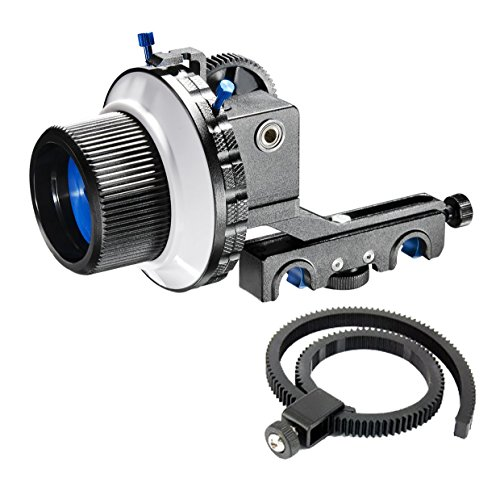 MARSRE Pro Follow Focus with A/B Hard Stops, Gear Ring Belt and 15mm Quick Release Rod Clamp for Canon Nikon Sony Panasonic and Other DSLR Video Cameras and DV Camcorders