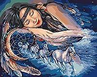 子供のための数字によるペイントキット青いキャラクターの女の子40X50Cmフレームなしのキャンバス3つのブラシを使った娯楽のための数字によるペイント