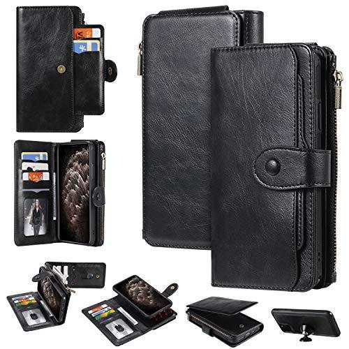 Miagon Coque Portefeuille pour Samsung Galaxy S9 Plus,Détachable Flip Cover Étui avec Porte Monnaie Fente pour Multiples Bourse Carte Housse de Protection,Noir