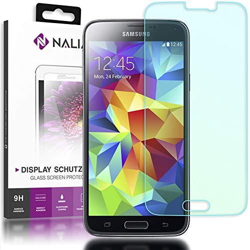 NALIA Schutzglas kompatibel mit Samsung Galaxy S5 / S5 Neo, Full-Cover Displayschutz Handy-Folie, 9H Härte Glas-Schutzfolie Bildschirm-Abdeckung, Schutz-Film Clear HD Screen Protector - Transparent