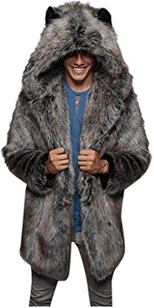 Stoota Men's Long Sleeve Fluffy Faux Fur Winter Warm Overcoat, Long Thicken Soft Jacket Outerwear