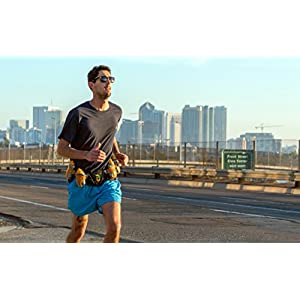 247 Viz Running Hydration Belt - Improved 2020 Version Fuel Belt, Fits iPhone X and Similar - with Four 8oz BPA Free Water Bottles for Any Race or Run (Black)