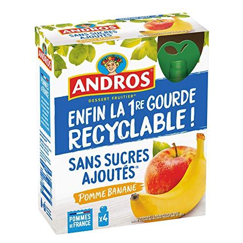 ANDROS - Compote de Fruit - Gourde Recyclable - Sans Sucre Ajouté - Goût Pomme/Banane - Idéal pour le Goûter des Enfants et des Bébés - Lot de 4