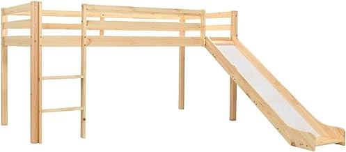 Tidyard- Deslizador para niños Cama Alta Maciza y Escalera de Pino de Madera Maciza de Pino 208 x 147.5 x 110 cm