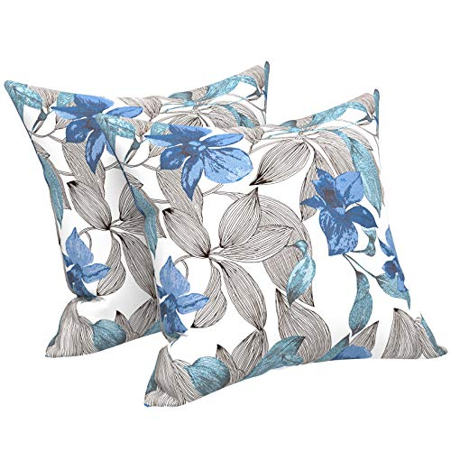 """LVTXIII Outdoor Accent Patio Toss Pillow Covers, Tropical Throw Pillow Case Sham, Square Cushion Covers for Indoor Outdoor Use 2 Pack, 18"""" x18"""" –Simply Daisy Blue"""