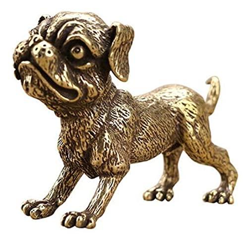WQQLQX Statue Reine Bronzeskulptur Bronze Hund Statue Haustier Hund Statuette Kleine Verzierung Antike Dekoration Geschenk Autozubehör Skulpturen